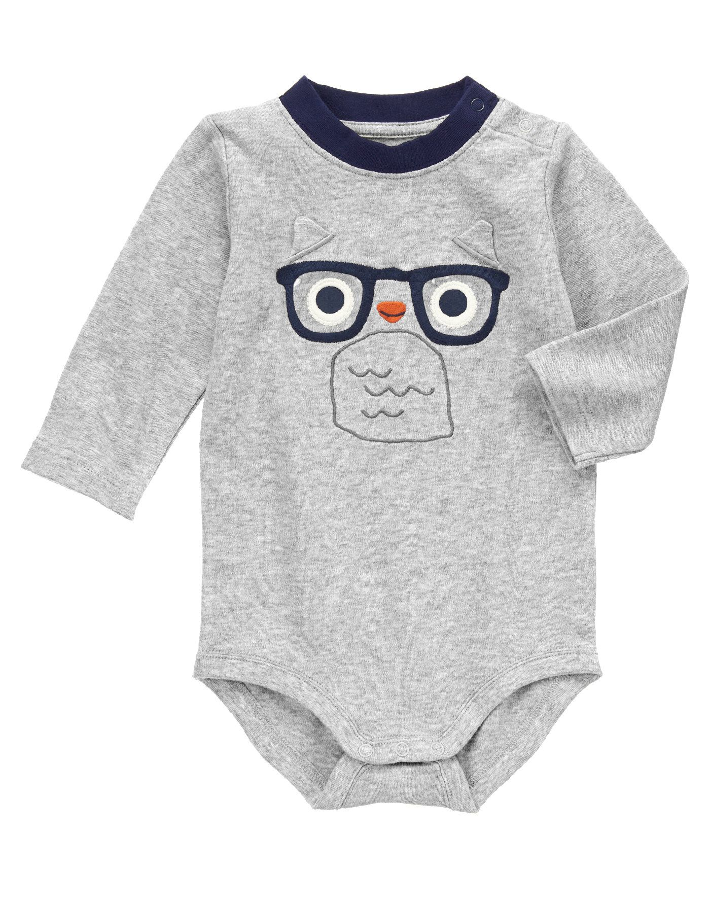 Whoo's there? Fun clear glasses and 3-D ears are featured on our soft bodysuit. Finished with stylish ringer collar.