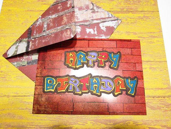 Birthday Card Urban Graffiti Happy Birthday On Red Brick Wall