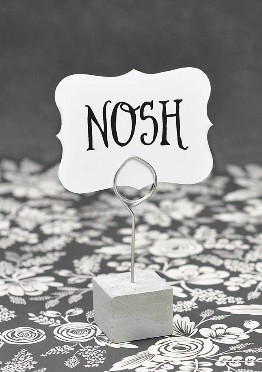 Cement and wire stands - placecard holder - picture holder