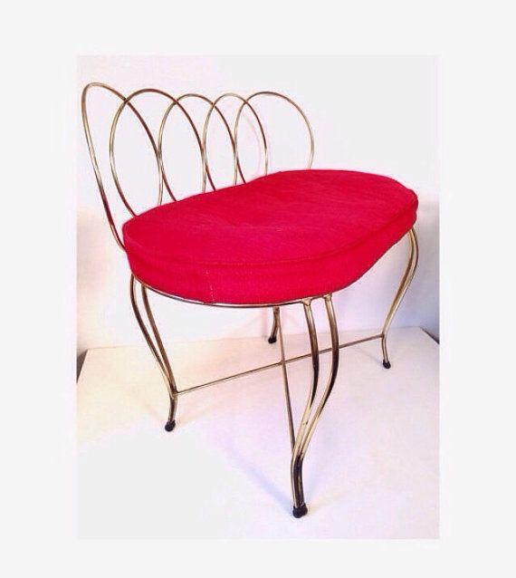 vintage vanity bench brass metal bench mid by ninedoorsvintage ...
