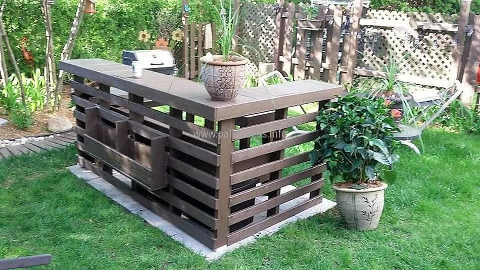 Amazing Wood Pallets Garden BBQ / Bar Terrace: Here Is The Complete Picture Of The  Garden BBQ Idea; It Is Shown Here To Make It Easy For The Individuals To  Copy ...
