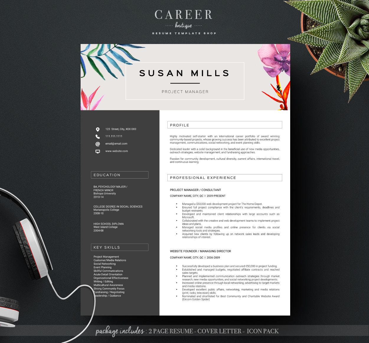 Creative Resume Template from @CareerBoutique https://www.etsy.com ...