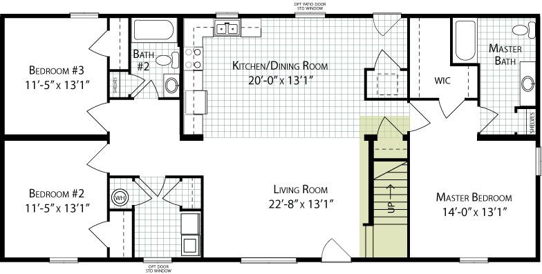 Reflection C Floorplan Of Simple Living Collection All American Homes Floor Plans House Plans Kitchen Dining Room