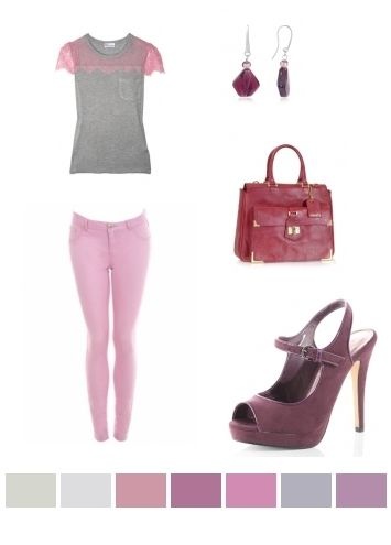 gray, pink, purple
