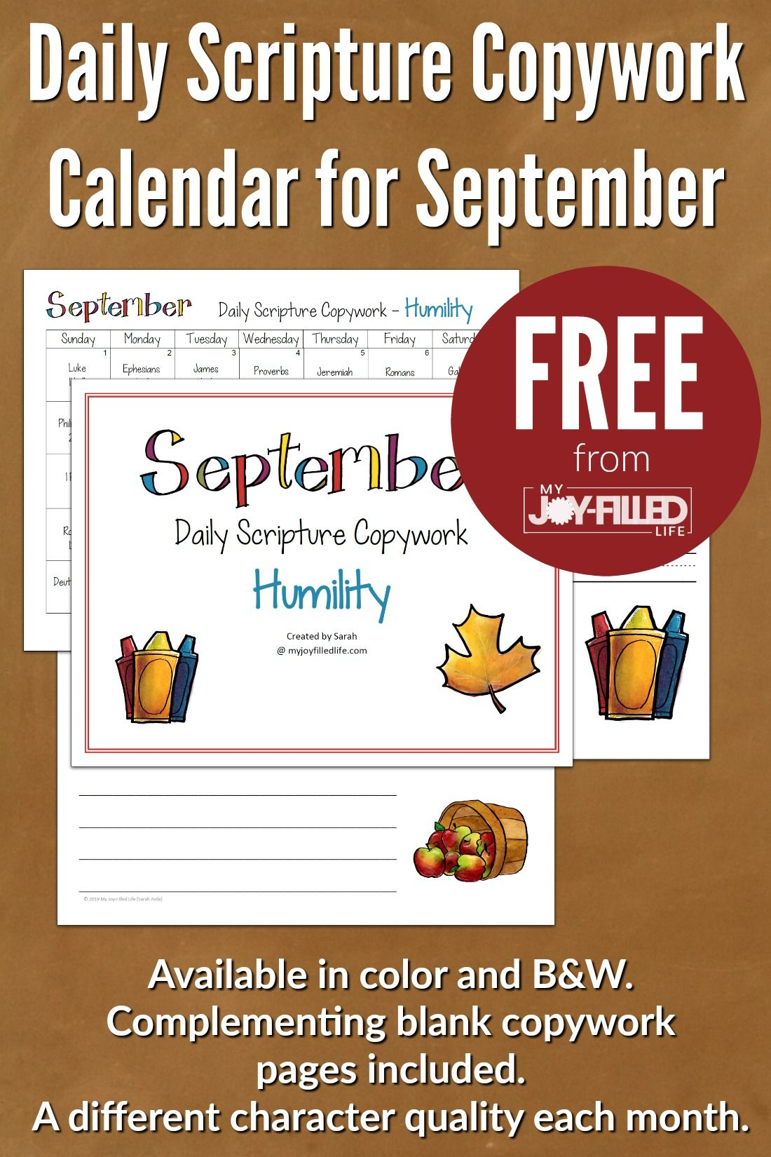 Daily Scripture Copywork Calendar For September