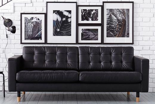 ikea landskrona leather sofa  ikea leather sofa black