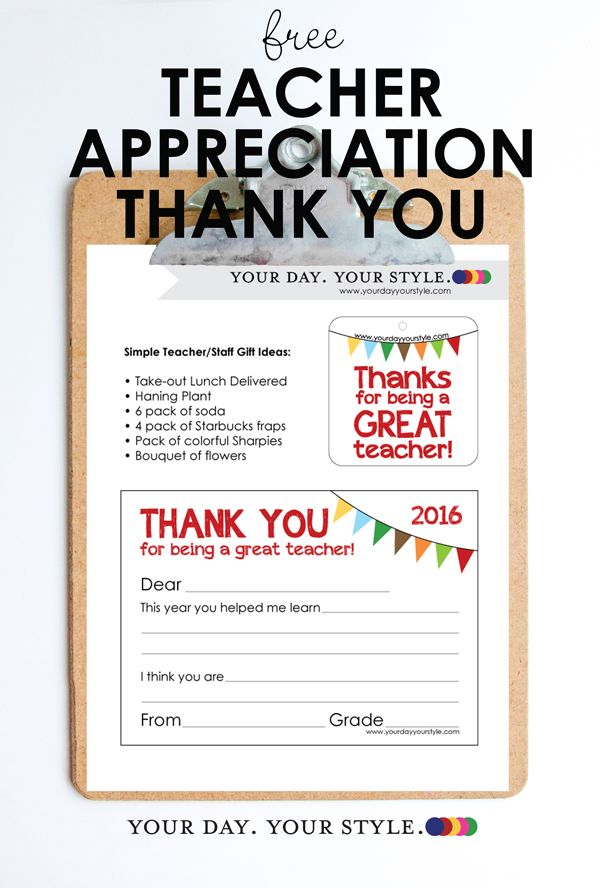 Free Printable Teacher Appreciation Gift Tag and Thank You Note from - copy business letter appreciation thank you