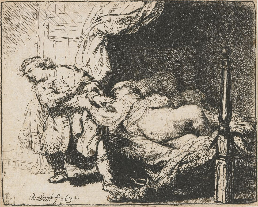 Rembrandt, Joseph and Potiphar's Wife. Etching (9 × 11,5 cm) — 1634