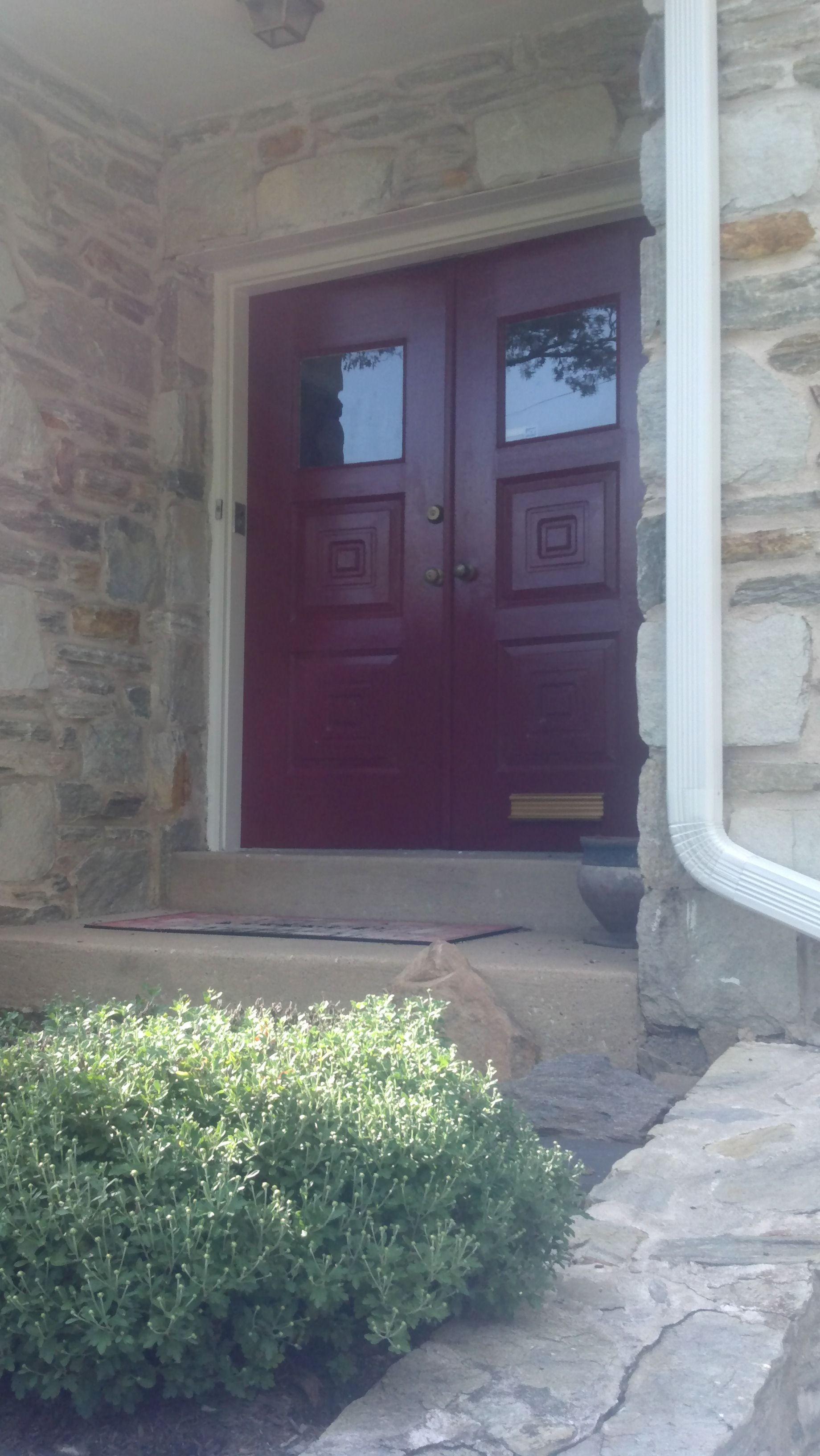 Benjamin Moore Dinner Party Red front door!  Love it - perfect pop of color.