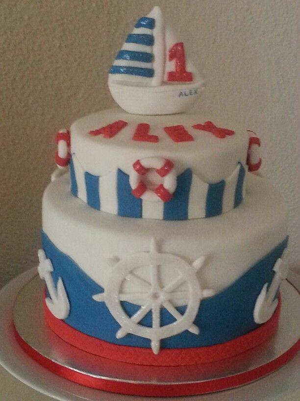 nautical inspired 1st birthday cake lifesaver ships wheel anchor