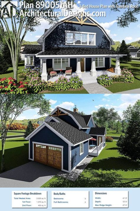 Plan 890051ah 3 Bed House Plan With Gambrel Roof Architectural Design House Plans Barn House Plans Barn Style House