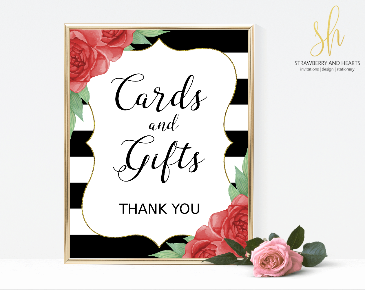 Wedding decoration png images  Striped Cards and Gifts Sign  Wedding Signage