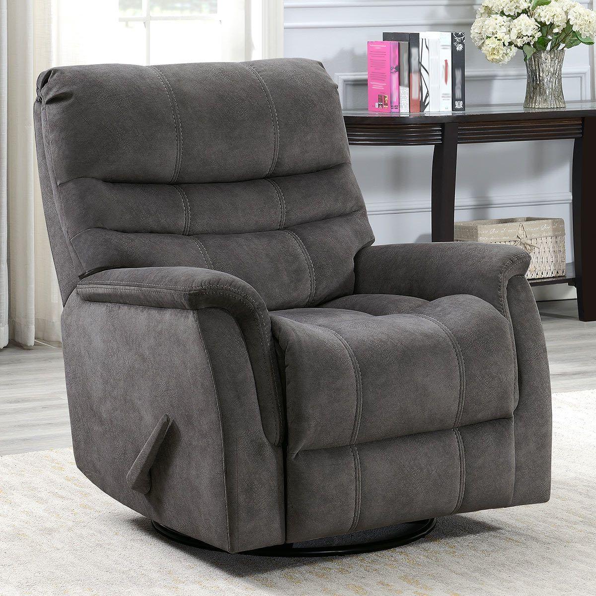 Thomasville Felix Grey Fabric Swivel Glider Recliner Chair