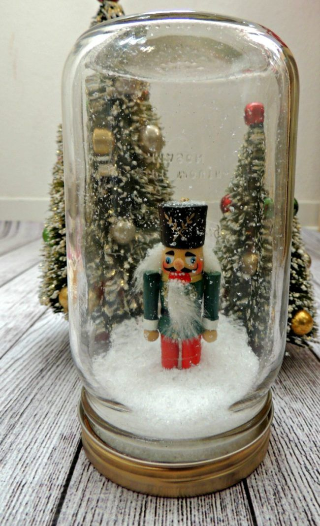 Weihnachtsdeko Schneekugel.Weihnachtsdeko Selber Basteln Einweckglas Nussknacker Schneekugel