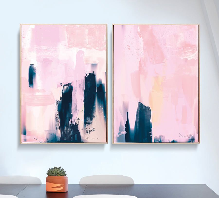 Set of 2 Prints, Abstract Art Prints, Large Wall Art, Printable Abstract Art, Navy Blue and Pink, instant download Art, Minimal Art A1 Print #apartmentsinnice