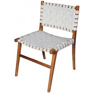 White Strap Leather Dining Chair Chairs