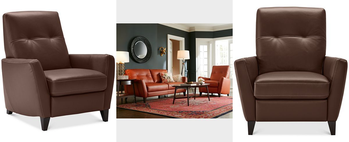 RECLINER Geovany Leather Tufted Pushback Recliner