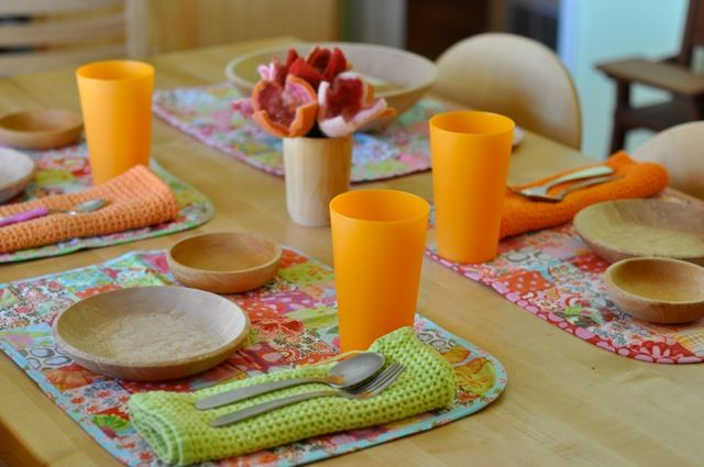 set a lunch table in the preschool lunch table quilted place mats felted flowers wooden bowls preschool21 lunch