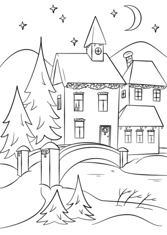Winter Village Coloring page  Book illustration art, Coloring
