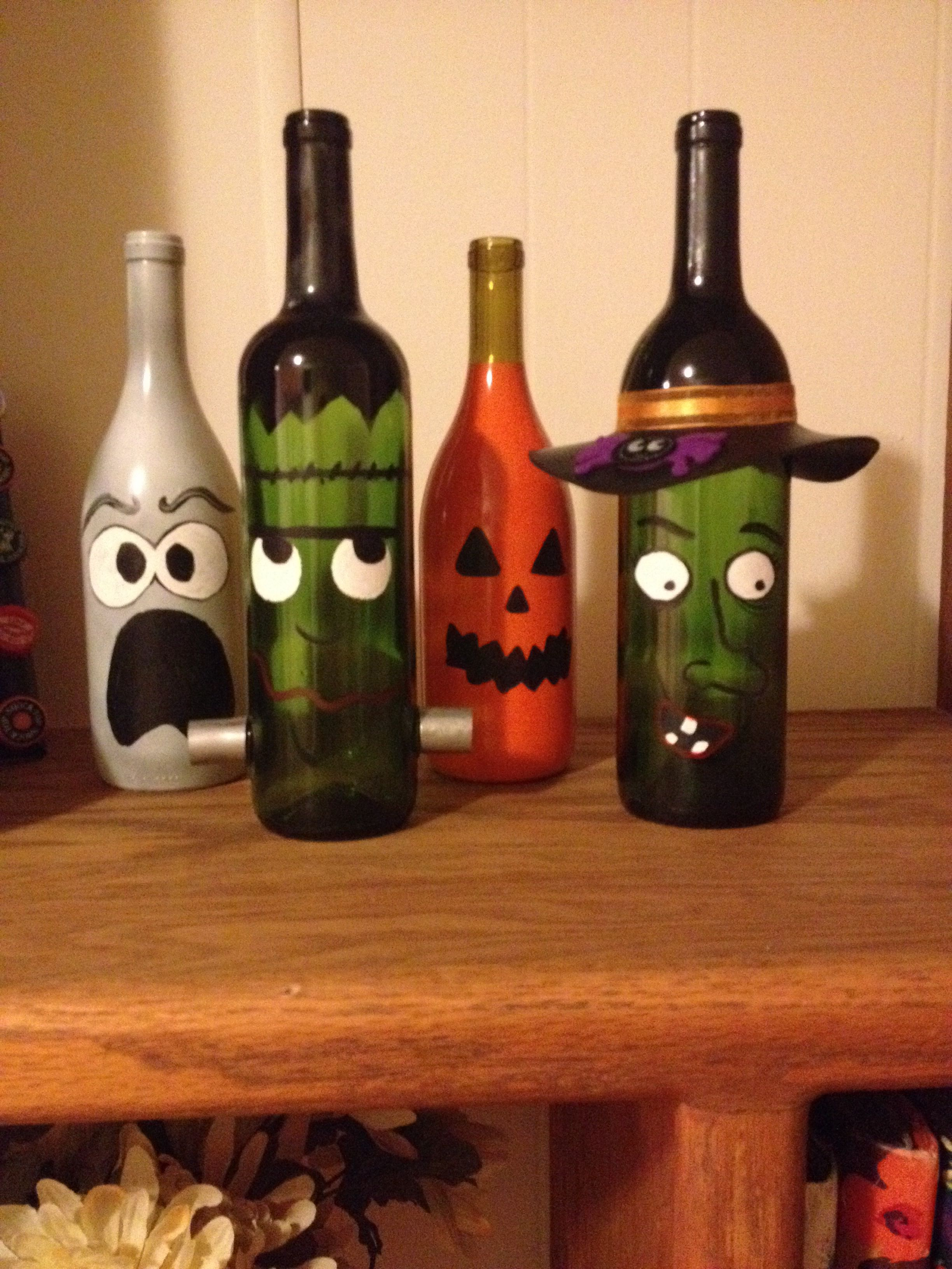 Painted Wine Bottle Decor Halloween Diy Origami Owl Independent