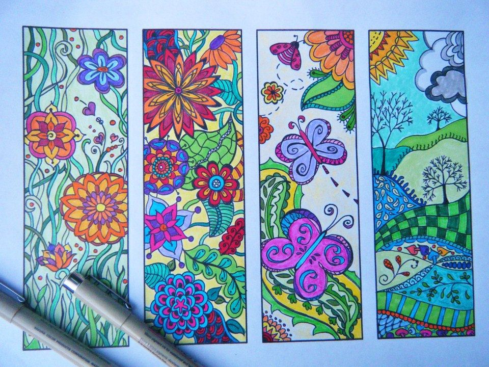 Bookmark Flowers to Print and Color  Zentangle Bookmark Coloring