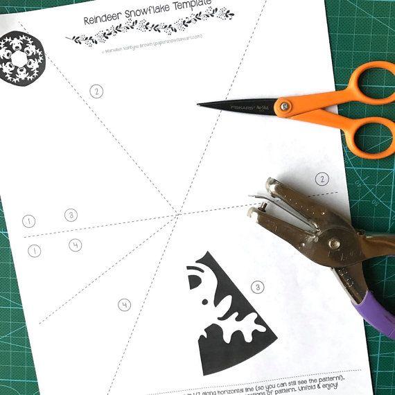 printable reindeer snowflake template  Reindeer Paper Snowflake Pattern (PDF Digital Download ...