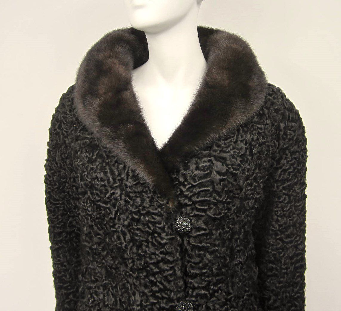 29489eb2fafd0 Vintage Chloé Persian Lamb Coat with Mink Fur Collar Jacket 2