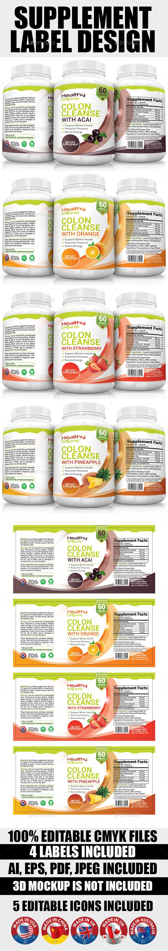Supplement Label Template Vol-08 | Pinterest | Ideas para negocios ...