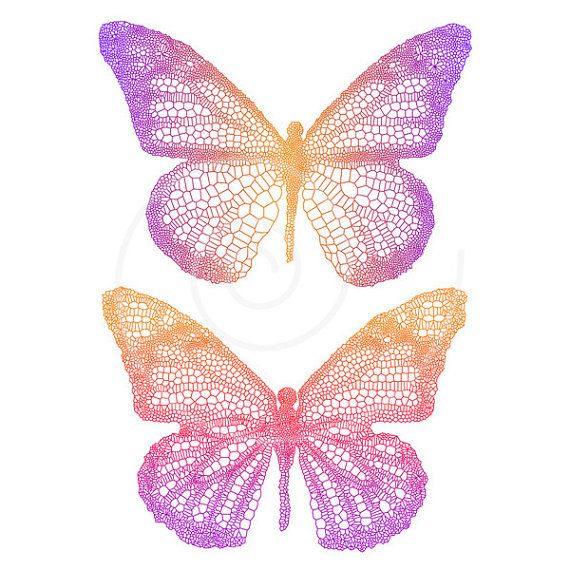 Delicate Butterflies With Detailed Wing Butterfly Digital Drawing Illustration Clip Art