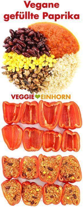 Vegane gefüllte Paprikaschoten mit Reis und Champignons   - Low Carb Mittagessen -