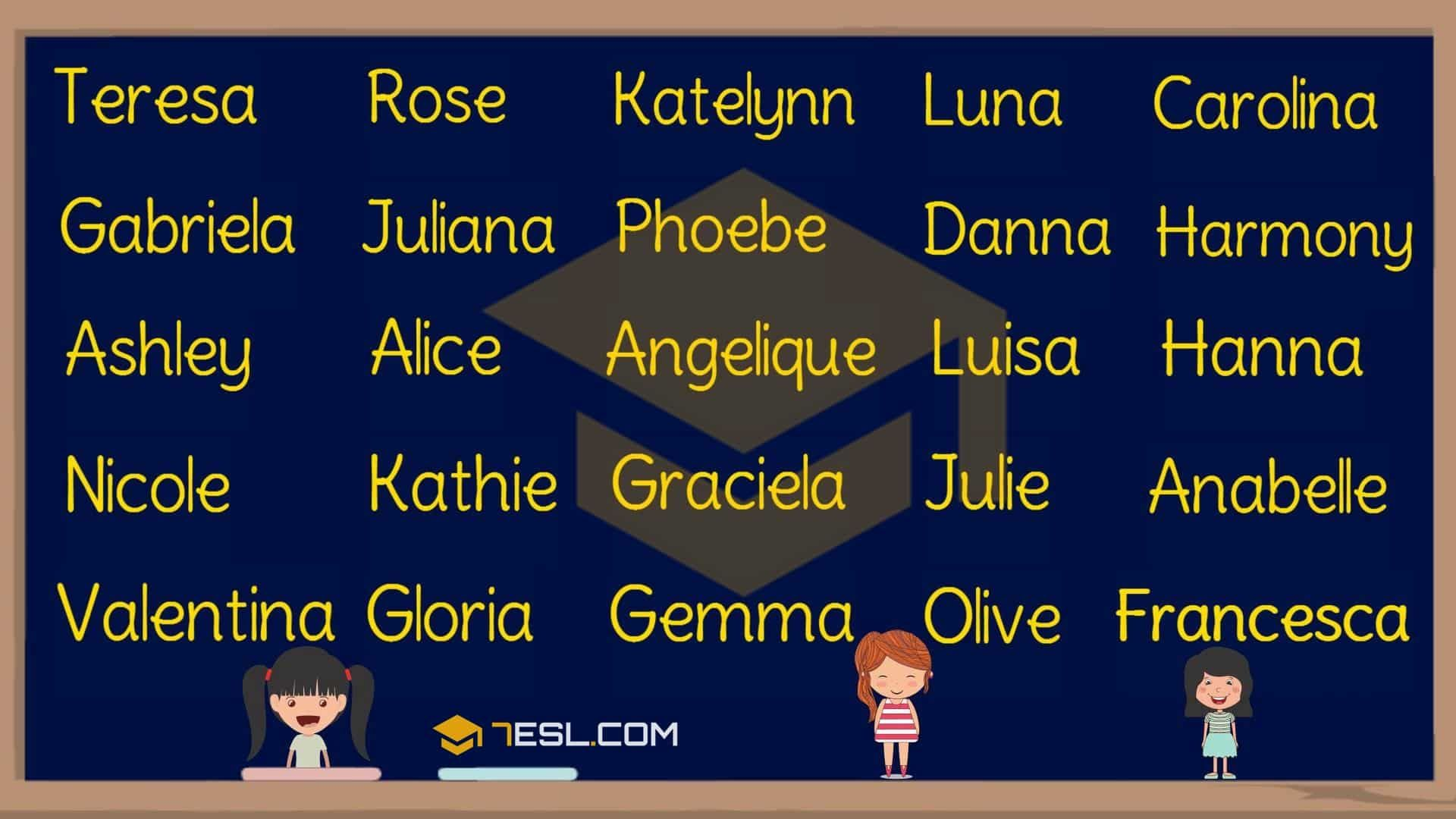 Girl Names 250 Most Popular Baby Girl Names With Meaning 7esl Baby Girl Names Popular Baby Girl Names Baby Girl Names Uncommon