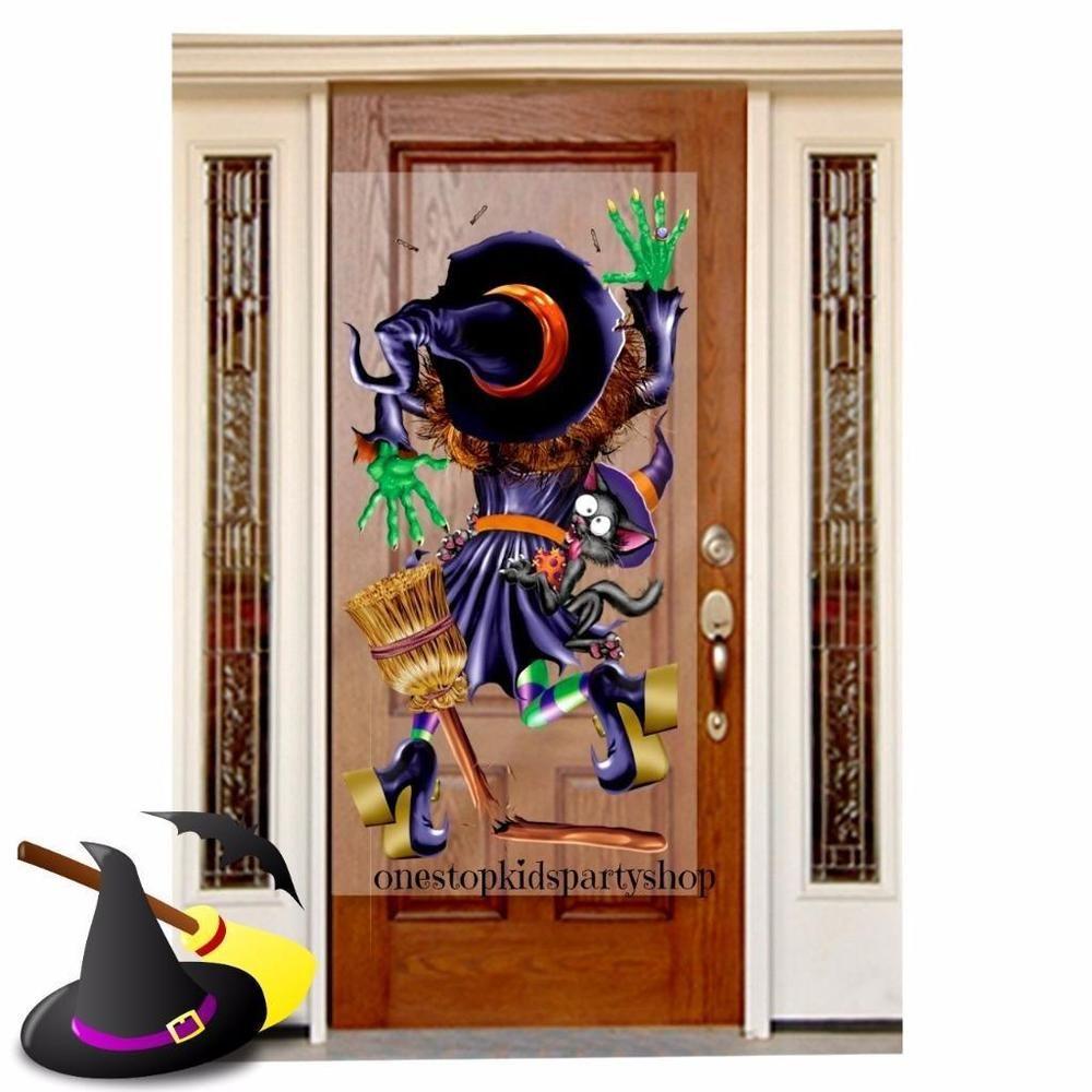 Crashing Witch Door Poster/Halloween Decorations/Halloween Party Supplies