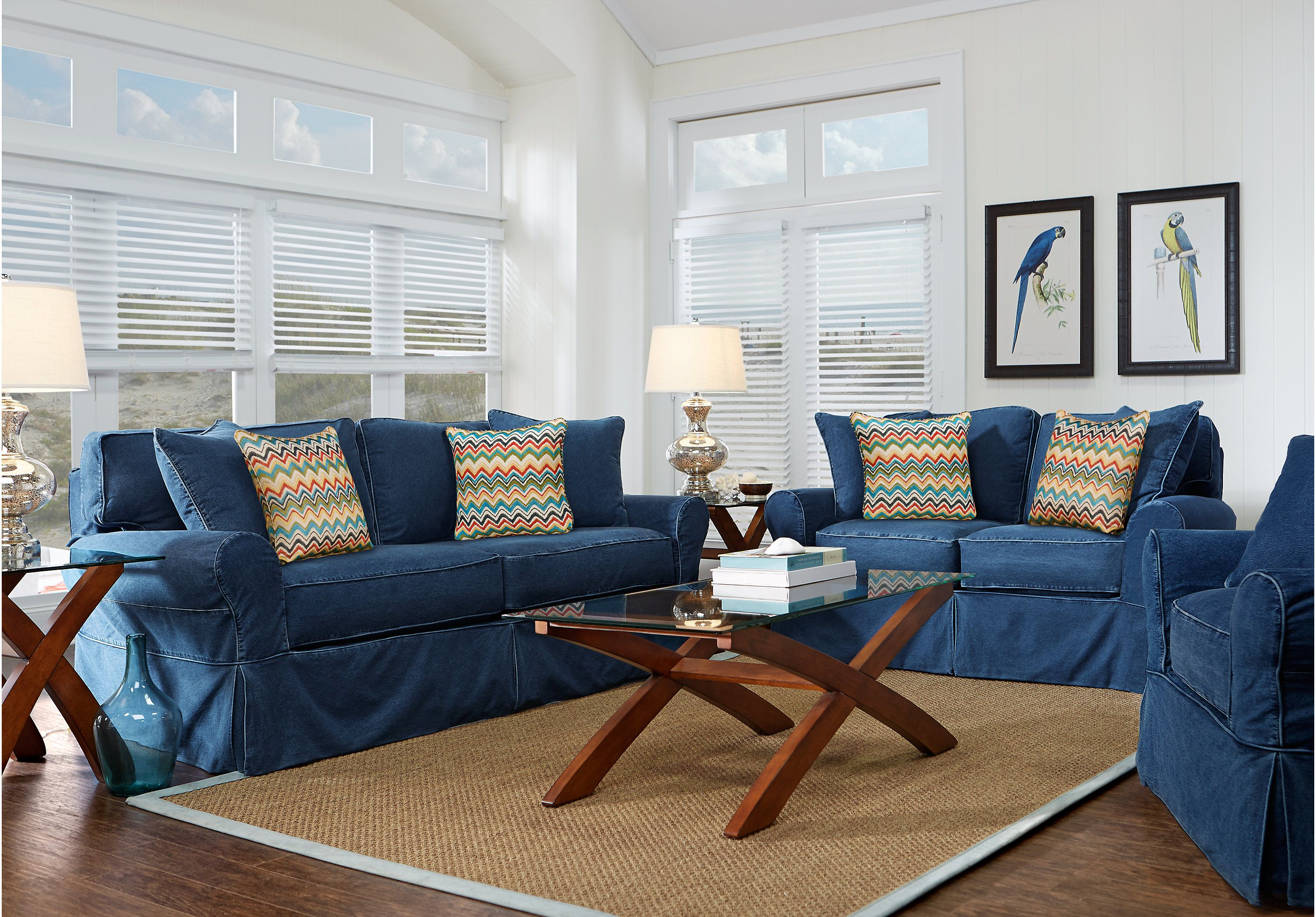 Picture Of Cindy Crawford Home Beachside Blue 7 Pc Living Room From Sets Furniture