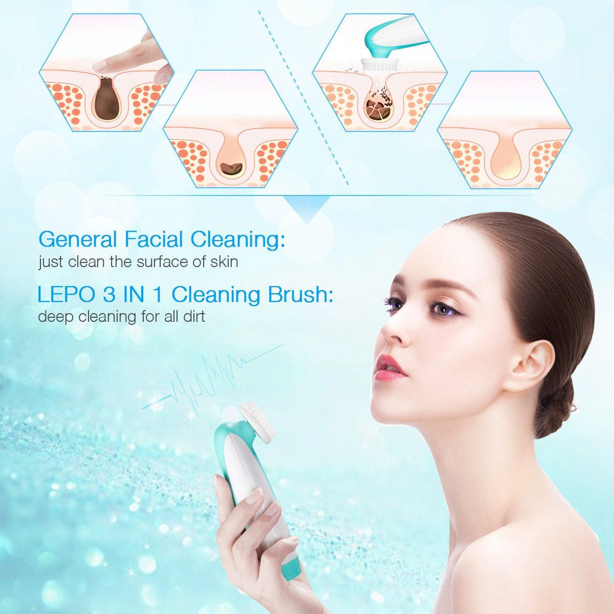 LEPO Facial Cleansing BrushWaterproof Electric Face Brush