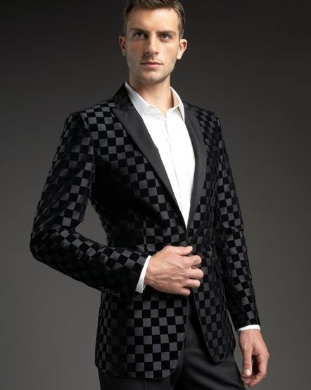 a8ca8330e2f436 mens fashion tux   How debonair is this Dolce   Gabbana Black Check Velvet Tuxedo  Jacket .