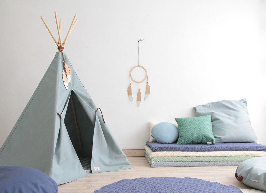 NOBODINOZ Tipi-Zelt Nevada, Riviera Blue   Babyzimmer und Kinderzimmer
