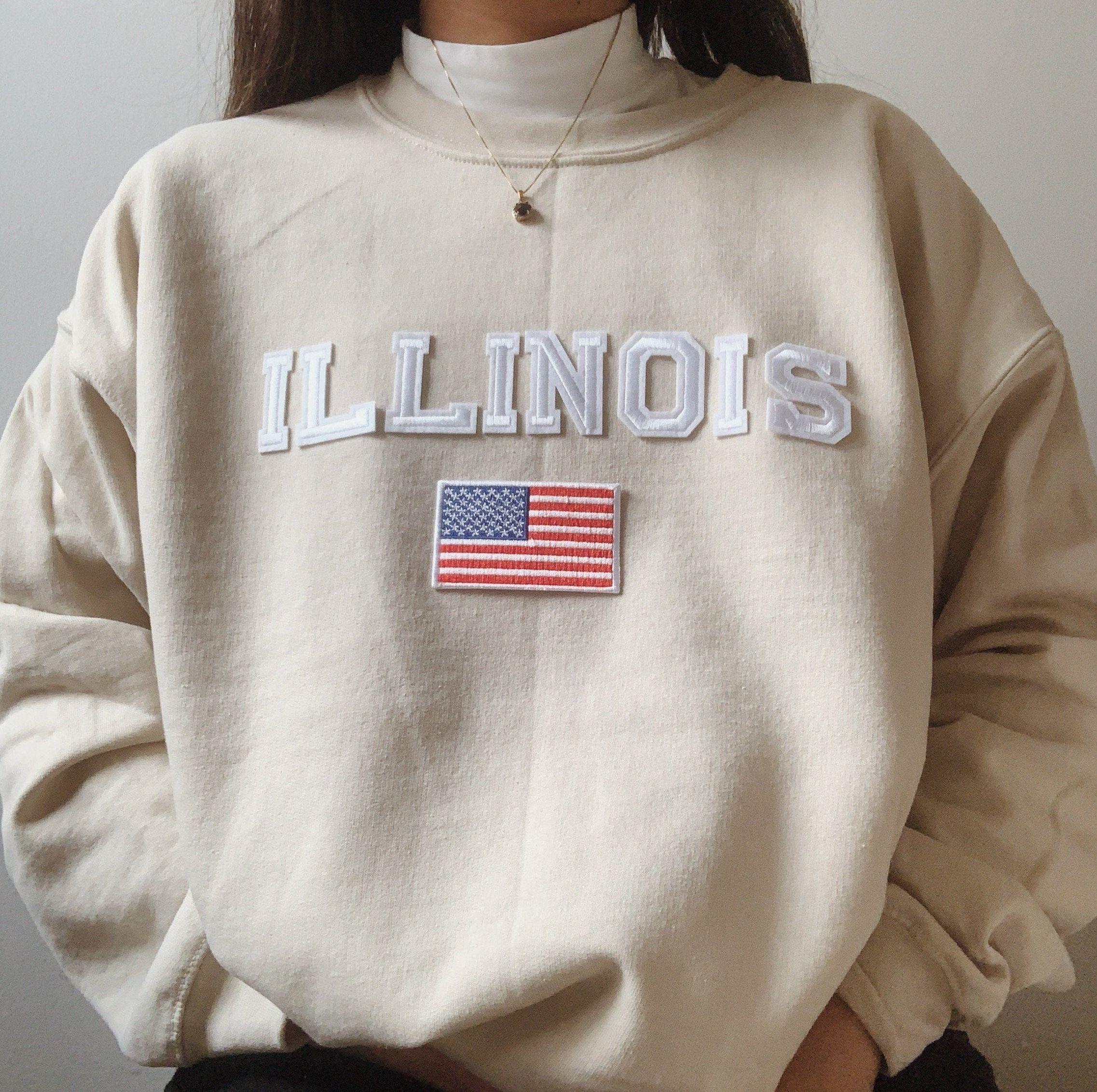 Unisex Illinois Sweatshirt Illinois Crewneck Illinois Etsy In 2021 Sweatshirts Vintage College Sweatshirts Feminist Sweatshirt [ 2263 x 2274 Pixel ]