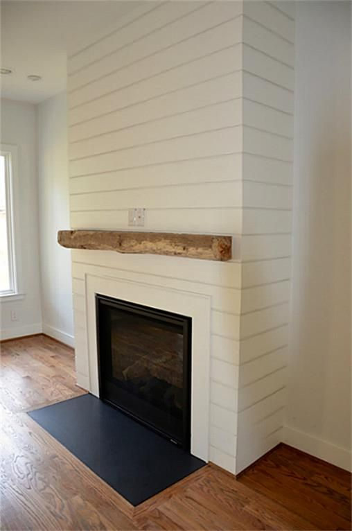 Natural Stone Fireplace With Barnwood Mantle Shiplap