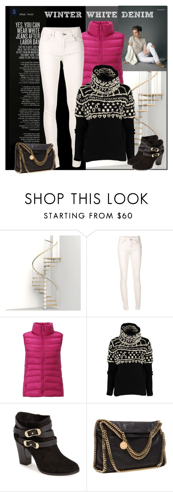 """winter white denim"" by sheryl-lee ❤ liked on Polyvore featuring rag & bone/JEAN, Uniqlo, Jimmy Choo and STELLA McCARTNEY"
