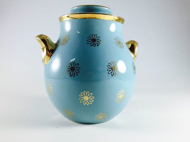 Vintage Halls Superior Quality Kitchenware Daisy Cookie Jar 1566 Turquoise Gold Label Blue Turquoise Eva Zeisel 1950s Mid Century Rare 1566 Eva Zeisel Colorful Gifts Etsy