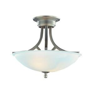 Filament Design Cabernet Collection 2-Light Brushed Nickel Semi-Flush Mount with White Marbleized Shade