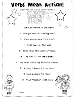 First Grade Blue Skies: Verbs are Action Words! Freebie | Grammar ...