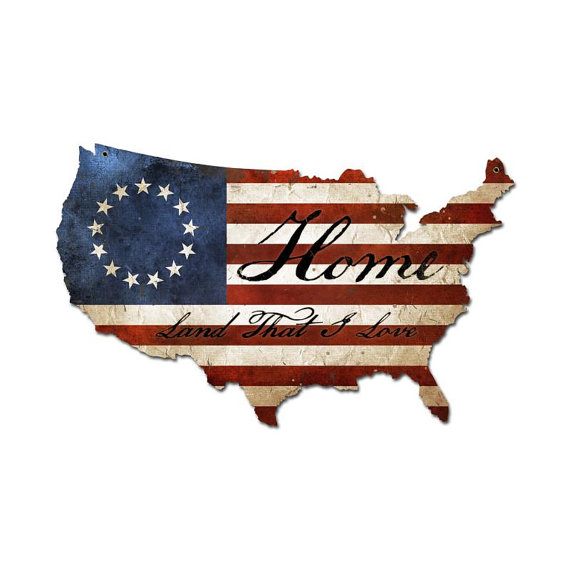 Usa United States Flag Home That I Love Map By