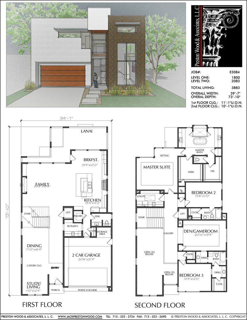 Urban House Plan E3084 Two Story House Design New House Plans Two Story House Plans