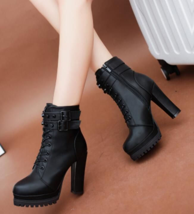 Sz  Womens Leather Ankle Boots Casual Platform Side Zip Block High Heels Shoes