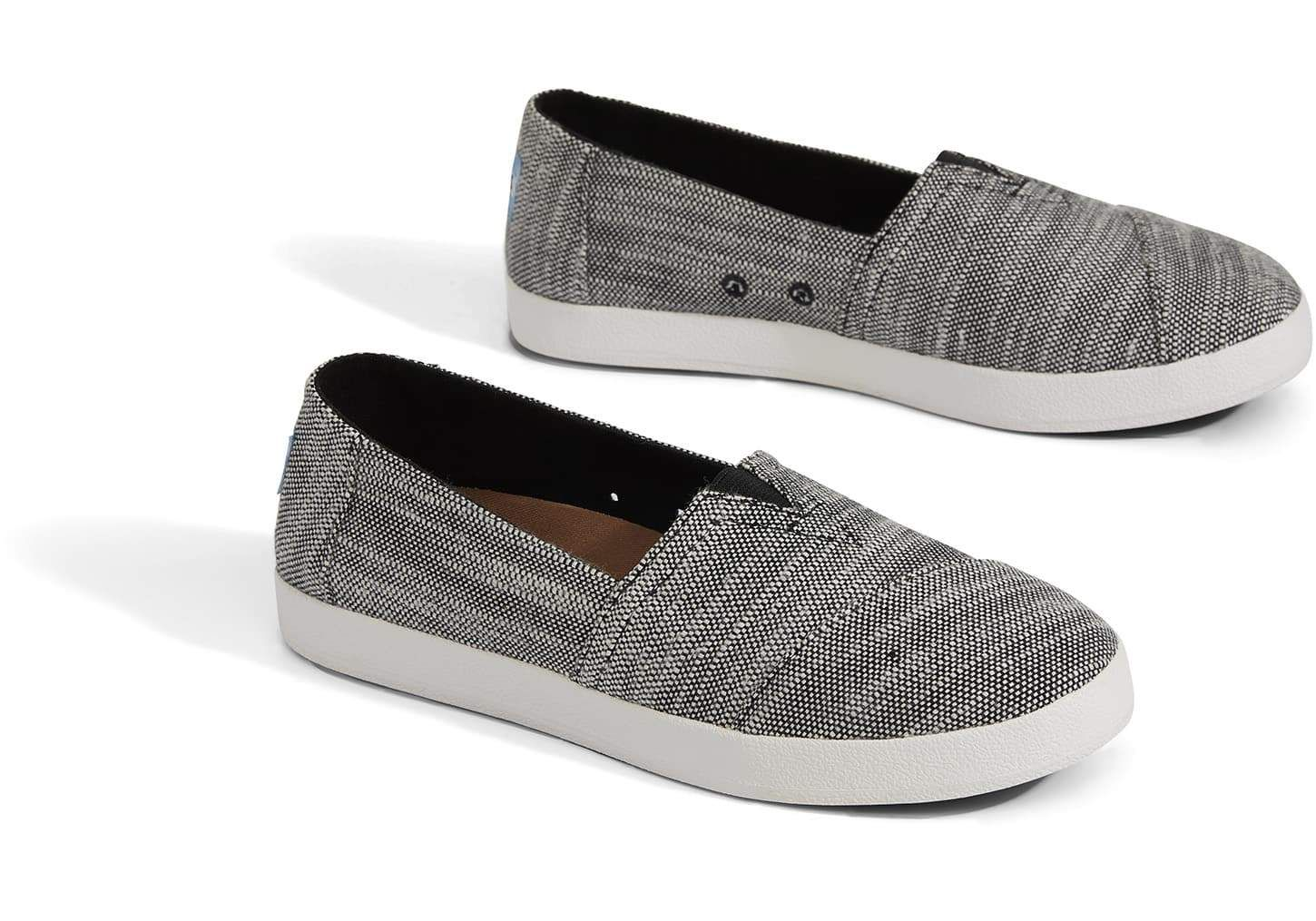 04a2d06200fd TOMS Black Slubby Cotton Women s Avalon Slip-Ons