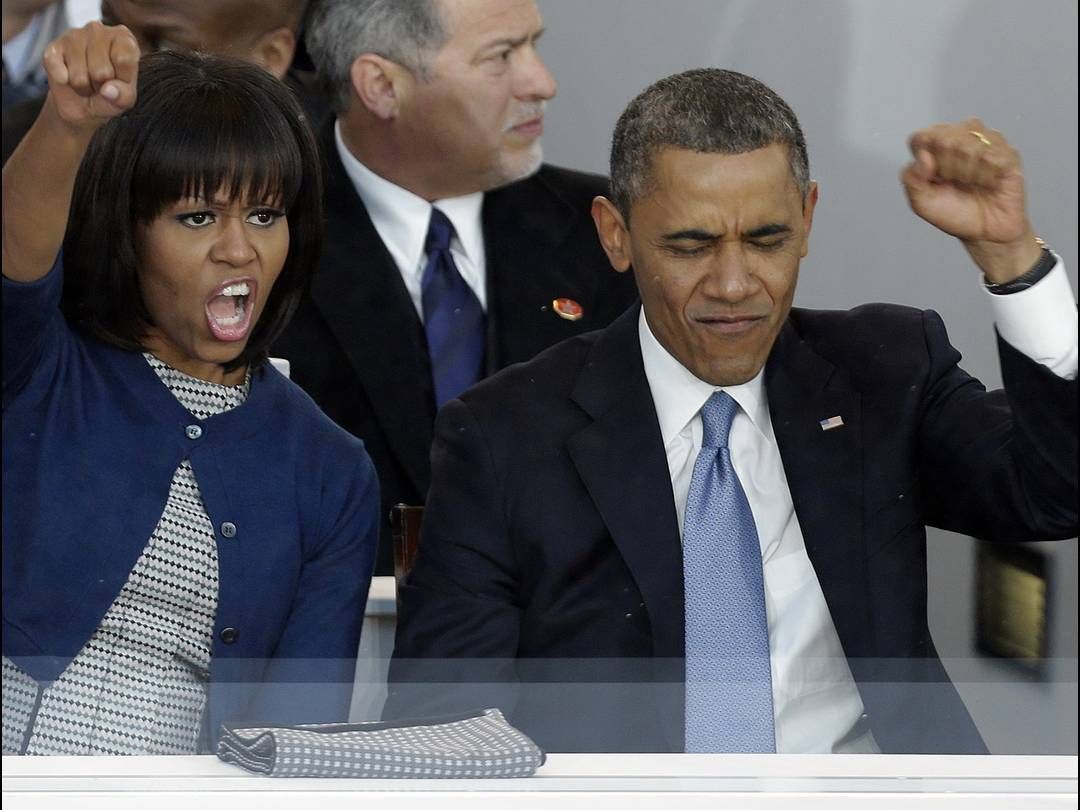 fist pump! president obama and first lady michelle obama cheer as