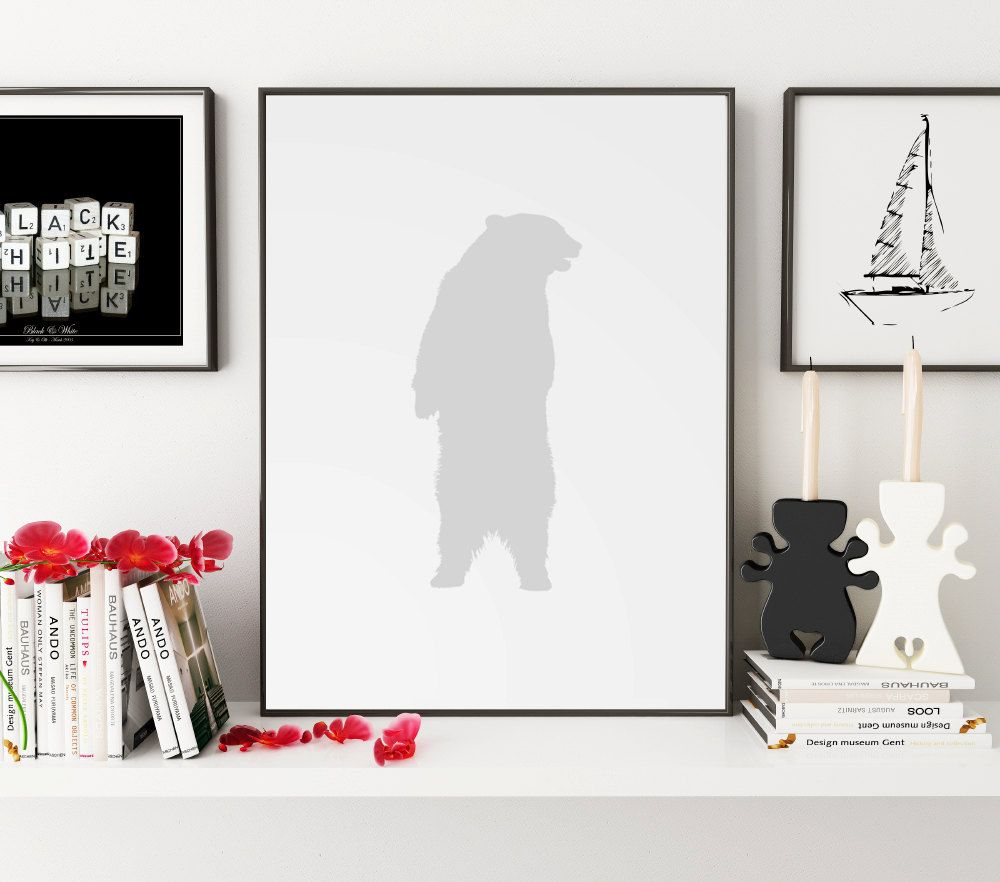 Grey Bear Print Bear Wall Art Bear Wall Print Wall Print Bear
