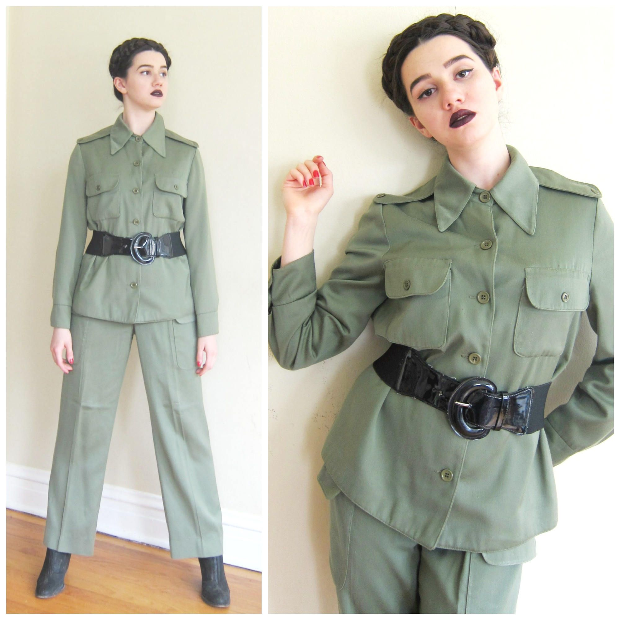 e79a45a8 Vintage 1980s 1970s Olive Green Military Pants And Jacket / 80s 70s Women's Army  Fatigues Ensemble by BasyaBerkman on Etsy
