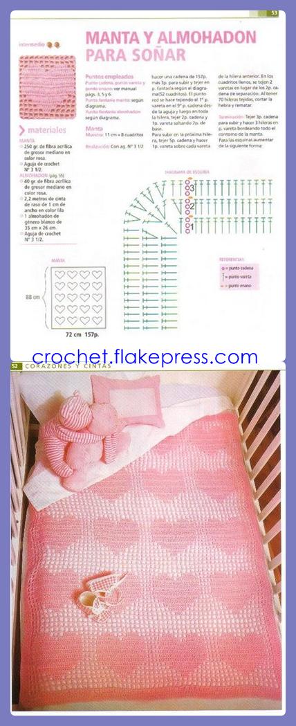 manta corazones crochet | Crochet ideas | Pinterest | Crochet, Filet ...